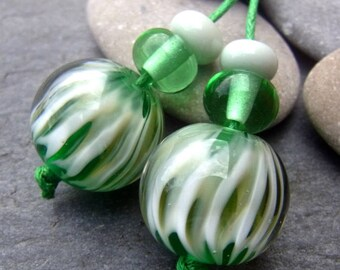 Gentle Waves - bead pair for earrings - Handmade Lampwork Bead Set (6) by Anne Schelling, SRA
