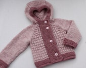 Hand Knit Baby Girl Hooded Jacket. Knit Pink Baby Girl Coat. Knit Baby Hoodie. Wool Baby Hoodie.