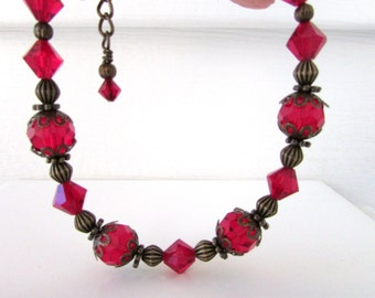 Birthstone Bracelet, Siam Bracelet, January Birthstone, Swarovski Bracelet, Vitorian Style Bracelet, Birthday, Holiday, Free US Shipping