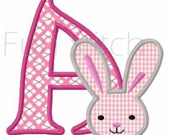 Set of 26 Easter bunny alphabet machine embroidery applique designs instant download