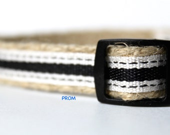 "Black and Cream Dog Collar, 5/8"" Wide Dog Collar, Dog Collar, Wedding Dog Collar, Collar and Leash Set"