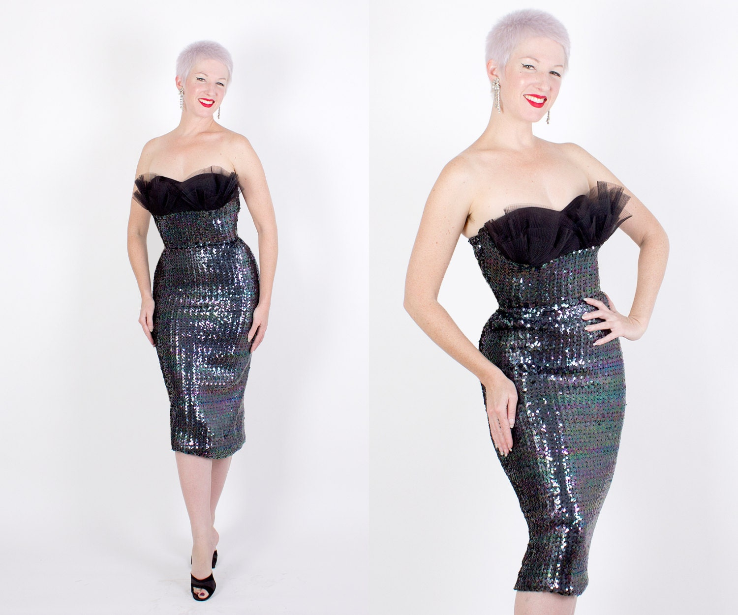 BOMBSHELL 1950's Iridescent Black Sequined Extreme Hourglass Strapless Cocktail Dress w/ 5 Row Ruffle 3D Shelf Bust - VLV - Holiday - S / M