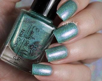 "Nail polish - ""False Destiny"" Light green linear holographic polish with shimmer and holo glitter"