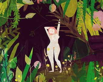 JUNGLE - art print // forest illustration // purple green nude wall decor