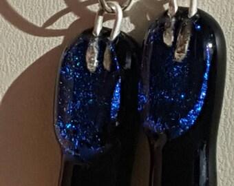 Deep Blue glittery earrings
