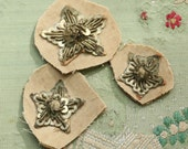 Lot of 3 Antique metal bullion star aged patina art deco trim silver ribbon ribbonwork christmas millinery flapper 1900s 1920 edwardian