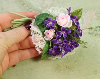 Vintage flower cloth millinery piece violet lace roses posy tiny corsage trim  hat soft shades  flower making supply 1940 1950 1960 1