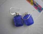 Dichroic Glass Earrings Periwinkle Blue Rectangular Cabochons .925 Sterling Silver Fused Glass Dangle Drop Color Shifting Kiln Fired Dichro