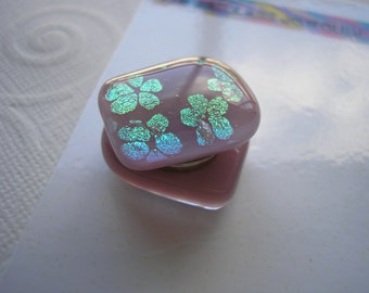 Magnets Dichroic Glass Pale Mauve with Green Gold Flowers Fused Glass Refrigerator Kitchen Matching Stocking Stuffer Office Hostess Gift