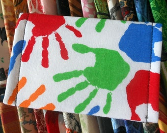 Hand print design ID wallet business card holder recycle reuse vegan cotton primary colors hand prints on white