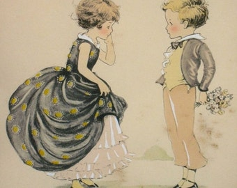 RARE ANTIQUE Shabby Chic 1930s Lithograph Of Two Children Dressed In Antebellum Style By Gladys T. Gibbs