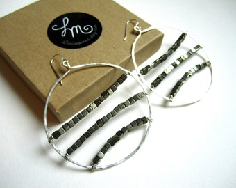 Golden Iron Pyrite Cube Encapsulated Large Sterling Silver Hammered Hoop Earrings by LM-inspired
