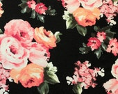 Black Peach Pink and Green Floral Rayon Spandex Jersey Knit Fabric, 1 Yard