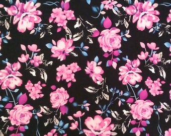 Black Blue and Fuchsia Floral Brushed Poly Spandex Knit, 1 Yard