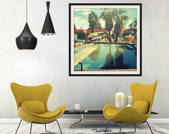 Swimming Pool Decor, Pool House Decor, Beach Bathroom Art For Bathroom, Art Deco Decor, Swimming Pool Art Deco Art, Square Art Vintage Art
