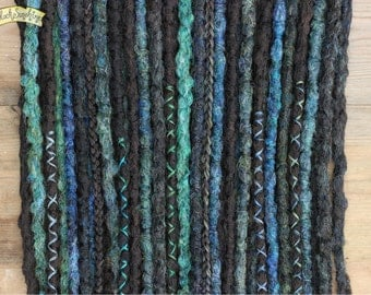 Sea Witch DE x24 Crochet Synthetic Dreads - brown green blue - half set