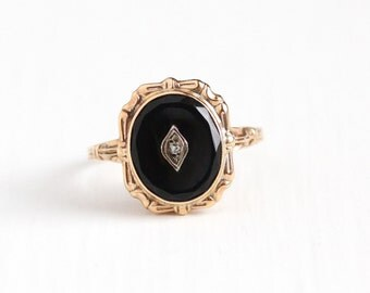 Vintage 10k Rosy Yellow Gold Black Onyx and Diamond Ring - Art Deco 1930s Size 8 Dark Black Oval Gemstone Statement Fine Jewelry