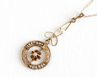Antique 10k Rosy Yellow Gold Diamond & Seed Pearl Lavalier Necklace - Vintage Buttercup Edwardian Fine 1900s Pendant Pearl Strand Jewelry