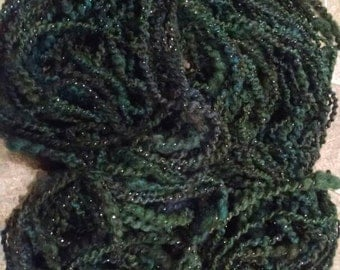 Handspun MOONLIGHT FOREST yarn 105 yards thick spun border leicester wool sparkly lurex plyed not the softest sheep in the flock