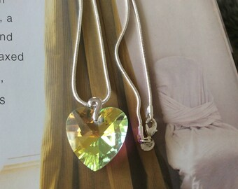 Swarovski crystal  heart necklace with Sterling silver chain