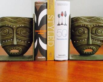 Modernist Bronze Tiki Face Bookends  A PairVintage  Bookends Danish Modern Global Tiki Buddha Zen Morrocan Boho Glam