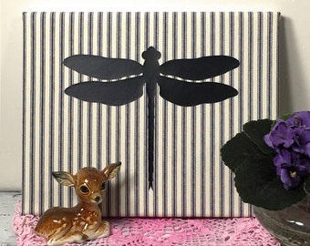 Dragonfly Art Canvas, Nursery Decor, Nature Wall Hanging, Farmhouse Wall Decor, Realistic Dragonfly Silhouette Navy Stripe Ticking  (0173bN)