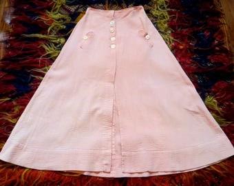 Victorian/Edwardian Pink Ribbed Cotton Skirt