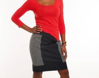 Emily Denim Pencil Skirt - Classic Pencil Skirt - Cotton Spandex Pencil Skirt