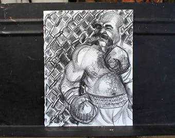 Boxing Bear Chomping on a Cigar, lithograph crayon on cotton paper, 9x12 inches by Kenney Mencher