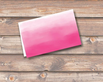 """Hot Pink Watercolor Ombre Place Cards Printable Food Tags Fuchsia Wedding Baby Shower Birthday 3.5 x 2.25"""" Tent Style INSTANT DOWNLOAD"""