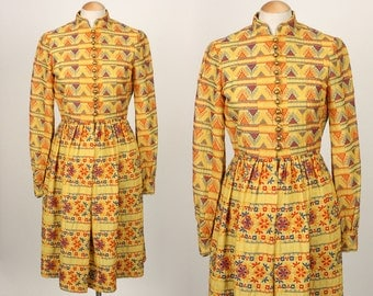 vintage 1960s embroidered dress • boho yellow cotton