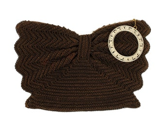 vintage 1940s brown cordé clutch with floral wrist ring • woven wings