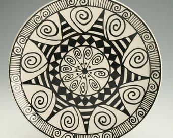 "Black and White Plate 8"", Lunch, Dessert, Salad Plate, Ceramic Pottery Plate, Mandala Art, Black Graphic Designs, Ceramic Dinnerware"
