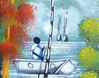 """Haitian Art, Canvas Painting, Haitian Painting, Canvas Art, Naive Art,  Original Art of Haiti - 3 1/4"""" x 15"""""""