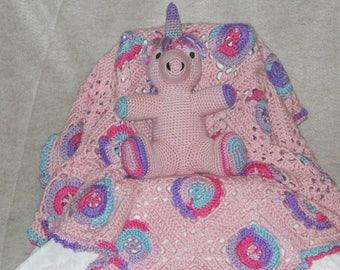 Baby Blanket with Unicorn Rattle