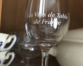 """6 French Wine Glasses, """"Les Vins de Table de France"""" Set of 6 Glasses"""