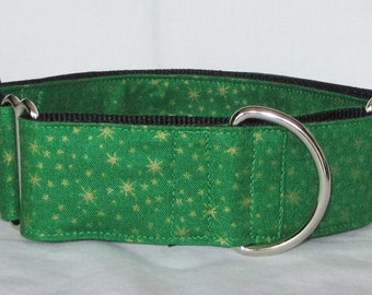 Twinkle Star Martingale Collar - 1.5 or 2 Inch - green gold sparkling solar burst