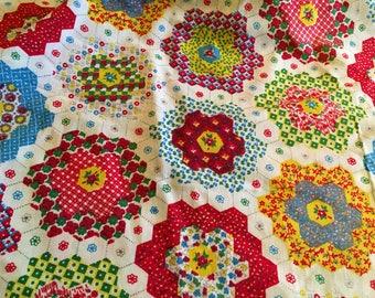 Vintage Patchwork Sheet Fabric 1970s cotton