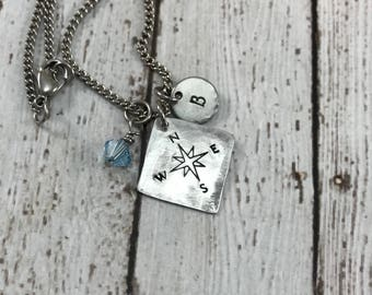 Graduation Gift - Compass - Initial - Birthstone Hand-Stamped Charm Necklace - Graduation Necklace