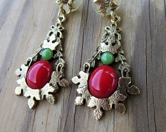 Empecabble NeoClassical Designer Post Dangle Earrings Detailed Leaf Design Faux Carnelian and Jade