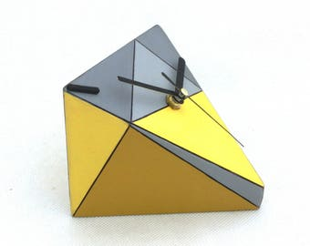 Desk Clock, Wood clock, Unique gift, Table clock, Geometric Triangle Yellow Grey, Birthday Wedding gift, Spring home decor, Mothers day gift