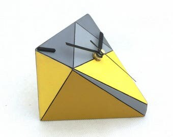 LABOR DAY SALE Desk Clock, Wood clock, Unique gift, Table clock, Geometric Triangle Yellow Grey, Birthday Wedding gift