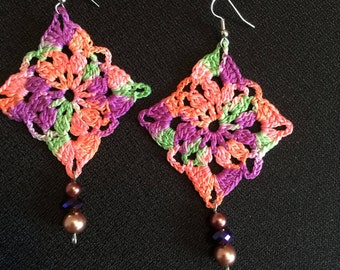 Coral Reef Handmade Designer Crochet Earrings - OOAK - Ombre Fiber Earrings - Ready to ship