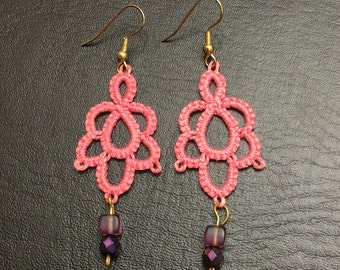 Tatted Earrings - Tatted Jewelry - Mauve Tatted Earrings - Tatting