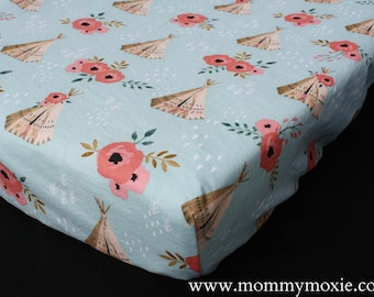 Fitted Crib Sheet/Changing Pad Cover/Mini Crib Sheet in Teepee Roses - Wild Adventure Rustic Nursery Print - by Mommy Moxie on Etsy