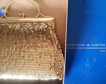 Whiting & Davis Gold Mesh Purse Vintage in Box with Tag