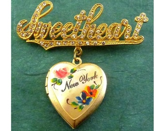 1940's Sweetheart Heart Locket Pin-New York, Rhinestone Letters, Enamel Roses