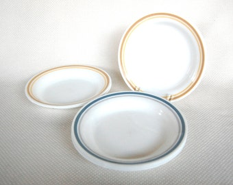 Set of 6 Vintage Corelle Flat Rimmed Bowls 3 SLATE Blue and Grey Bands and 3 ALMOND Beige and Yellow Bands Flat Rim Soup Plates