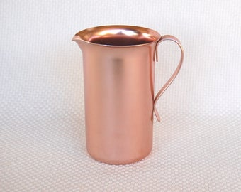 Vintage Pink Aluminum Colorcraft Tall Creamer Light Copper Color Small Pitcher Pink Syprup Pitcher