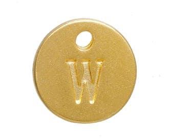 Gold Letter W Alphabet Charm 12mm
